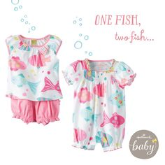 One fish, two fish...shorts and romper from Hallmark Baby! #babygirl #babyclothes #hallmark
