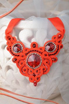 #Beautiful #handcrafted #soutache #necklace #with #beads #natural #stones