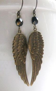 Angel wing earrings brass long dangles solid ~~~ This also, would be cool and simple to draw.