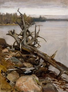 """Dead Pine in the Water"" - Eero Järnefelt (Finnish, 1863 - Scandinavian Paintings, Old Paintings, Impressionism, Illustrators, Flora, Illustration Art, Museum, Landscape, Wall Art"