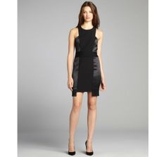 Nicole Miller black shined contrast sleeveless cutout stretch crepe dress