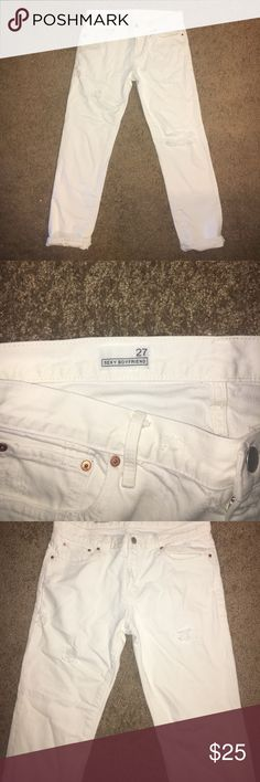 GAP size 27 sexy boyfriend cut jeans White, destroyed loose boyfriend fit. Never worn. I normally wear a 4, these were too loose around the waist. GAP Jeans Boyfriend