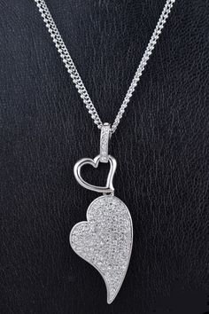 Crystal studded heart pendant necklace.  $18.00