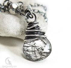 Black Tourmalinated Quartz Necklace, Sterling Silver Rutilated Pendant | Gheet - Jewelry on ArtFire