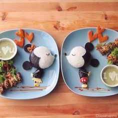 Cute food art - Mickey and Minnie Mouse. Arte Do Sushi, L'art Du Sushi, Sushi Art, Cute Food Art, Food Art For Kids, Art Kids, Comida Disney, Disney Food, Bento Recipes