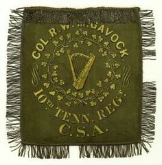 """The colour of the 10th Tennessee Infantry Regiment is probably the most celebrated Irish Confederate flag. There was no doubt it could be anything but an Irish regiment it was even nicknamed the Confederate Irish Brigade despite being only one regiment. (the term """"Irish Brigade"""" seems to have been adopted by various units numbering far less than brigade strength possibly trying to compare themselves with the celebrated French Irish Brigade), The 10th's colour was a green flag which depicted…"""