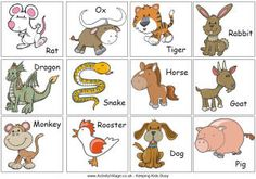 Print out these fun Chinese Zodiac cards and use them to play games with the kids at Chinese New Year.
