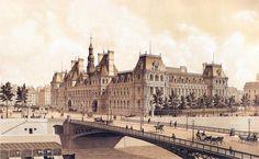 Hotel de Ville Paris by Hoffbauer   How it looked in 1883