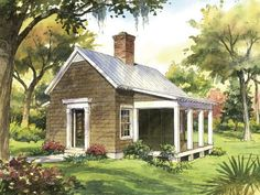 Garden Cottage Plan - Tiny Home Plans Under Square Feet - Southernliving. The ideal guest cottage is an inviting version of old farm cabins and country cottages. 540 square feet 1 bedroom and 1 bath See Plan: Garden Cottage Southern Living One Bedroom House Plans, Cottage House Plans, Best House Plans, Garden Cottage, Small House Plans, Cottage Homes, Guest Cottage Plans, Small Cottage House, Small Cottage Plans