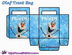 Frozen: Free Printable Paper Bags in Light Blue.