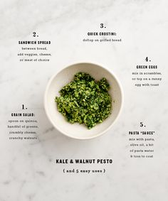 Any basil haters out there looking for a pesto alternative? Whip up a batch of this Kale Walnut Pesto from Love and Lemons! A Food, Food And Drink, Whole Food Recipes, Cooking Recipes, Cooking Tips, Vegetarian Recipes, Healthy Recipes, Healthy Foods, Kale Recipes