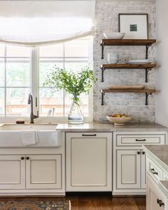 How could you not love open shelving when it looks this good! Are you a fan of this light and airy look? Bathroom Vanity Designs, Bathroom Design Layout, Best Bathroom Vanities, White Bathroom, Dark Kitchen Cabinets, Kitchen Nook, Kitchen Backsplash, Kitchen Decor, Kitchen Ideas