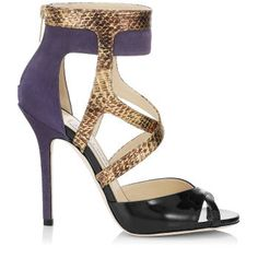 Jimmy Choo 'Freesia' Bilberry Antique Black Suede Gloss Elaphe Mirror Leather Sandals