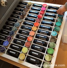 Jennifer McGuire's Distress Ink and Blending Tool organization. #CraftEnvy
