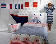Les Chats de la Marine Reverible Duvet & Sham Set by Catimini Bedding at Gilt Nest Furniture, Kids Furniture, Deco Marine, French Bed, Teen Bedding, Toy Rooms, Kids Rooms, Childrens Beds, Kids Boutique