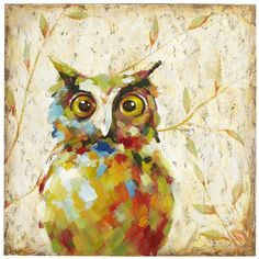 """Quirky Owl Art - This whimsical mixed-media study features vivid brushstrokes of color with an ironically watchful subject. Commissioned and curated by our experienced art buyers, it's a Pier 1 original and one-of-a-kind. Did you know that Pier 1 has an extensive gallery of fine art and prints? Browse online or see them up-close-and-personal in our stores. 39.37""""W x 39.37""""H,  Fir wood, cotton canvas, paint."""