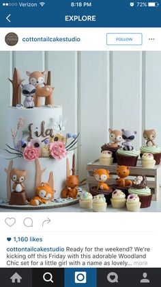 In love with these adorable woodland cake and cupcakes by the talented Cotton Tail cake studio. All their creations are simply stunning and lovely, with an exquisite attention to detail. Woodland Cake, Woodland Party, Woodland Theme, Deco Cupcake, Cupcake Cakes, Cupcakes Decorados, Novelty Cakes, Partys, Sugar Art