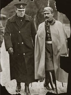 Winston Churchill with Kaiser Wilhelm II of Germany. The Kaiser was a grandson of Queen Victoria. Those WWI royals were all related!