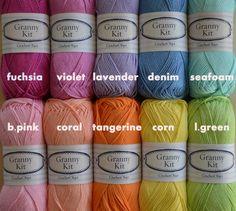 Katoen garens 10 kleuren oma Kit Ready te van CrochetObjet op Etsy