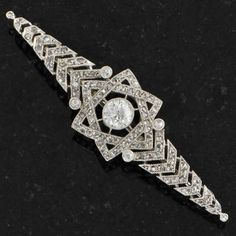 Art Deco Old European and Rose Cut Diamond Pin   Perry's Fine Antique & Estate Jewelry