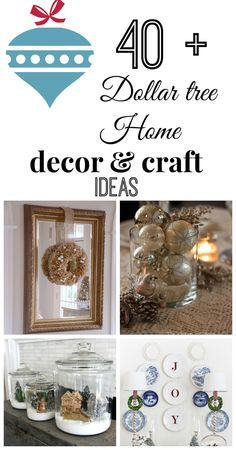 40 + Dollartree Holiday decor and craft ideas. Beautiful for a buck or two! #debbiedoos