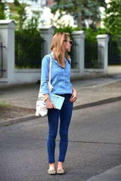 Spring style inspiration via Make Life Easier. Chambray top, jeans, and leopard flats. Double denim outfit.