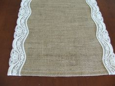 the easiest iest prettiest DIY project ever (if we have time) Burlap table runner with vintage ivory lace