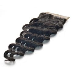 Free-Part Human Hair Lace Closure Loose Wave Top Lace Closure Hair Piece in Black Inches)