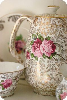 Pretty teapot and cup