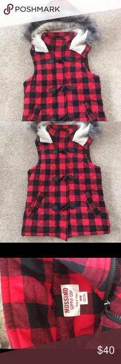 Quilted Buffalo Plaid vest Only worn a few times as I found out I was pregnant shortly after purchasing! In EXCELLENT like new condition! Mossimo Supply Co. Jackets & Coats Vests
