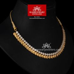 Kasu CZ Balance from Kameswari Jewellers Gold Necklace Simple, Gold Jewelry Simple, Gold Necklaces, Necklace Set, Simple Necklace Designs, Mango Necklace, Necklace Display, Diamond Necklaces, Layered Necklace