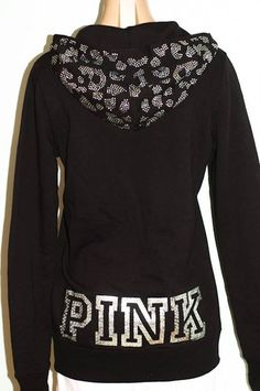 Victoria's Secret Bling Sequins LOVE PINK Zip Hoodie Black XS | eBay
