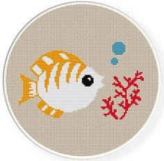 Check out our cross stitch fish selection for the very best in unique or custom, handmade pieces from our shops. Cross Stitch Baby, Cross Stitch Animals, Cross Stitch Charts, Cross Stitch Designs, Cross Stitch Patterns, Cross Stitching, Cross Stitch Embroidery, Crochet Cross, Hand Embroidery Designs