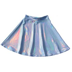 HOLOGRAPHISCHE TWOSIE Long Sleeve Crop und hohe Taille Circle Skirt ❤ liked on Polyvore featuring skirts, skater skirt, blue skater skirt, hologram skater skirt, blue skirt and flared skirt