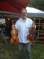 Don Rickert with an octave viola and 5-string fiddle at 2014 8th Annual Hoppin' John Old-Time & Bluegrass Fiddlers' Convention. Don Rickert Musician Shop (D. Rickert Musical Instruments will be a vendor this year)