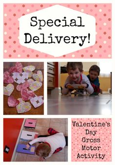 A gross motor activity with a Valentine twist.  So much fun will be had with this movement game.  #valentinesday #gross motor #purposefulplay