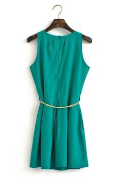 green ol sleeveless chiffon dress