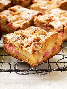 British rhubarb goes beautifully with vanilla and soured cream in this tasty crumb cake.