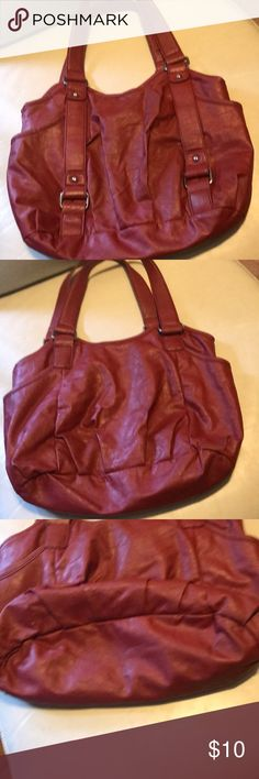 e2e5d76171afb Cherry Red PVC purse Satchel with side outside pocket on each side. Manmade  leather 14