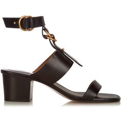 Chloé Kingsley leather sandals (€465) found on Polyvore featuring women's fashion, shoes, sandals, black, black strap sandals, strap sandals, strappy block heel sandals, black block heel sandals and leather strap sandals
