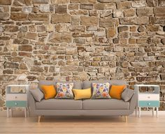 Stone Wall Mural Stone Wallpaper Stone Mural by PhotoDecorByDani