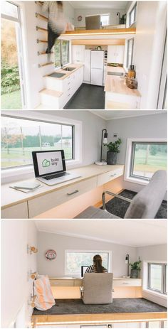 The Millennial tiny house features an ingenious retractable staircase #home #office #loft