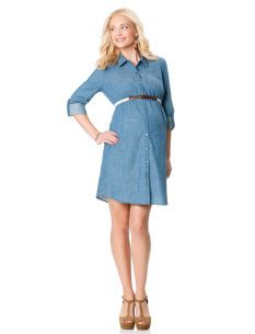 Convertible Sleeve Belted Maternity Dress