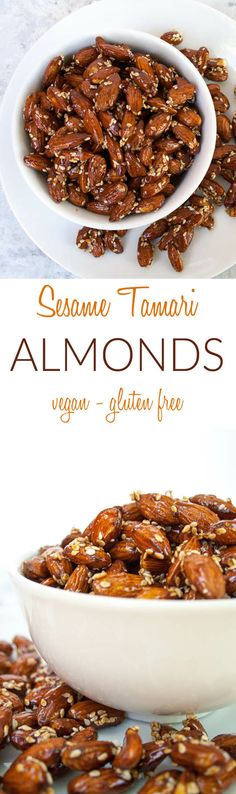 Sesame Tamari Almonds (vegan, gluten free) -These almonds are sweet and savory. They take minutes to make, which is a dream come true for any hostess!