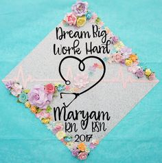 Diy Graduation Cap Discover Graduation Cap Topper Dream Big Work Hard Custom Nurse Graduation Cap Topper Decoration with Flowers. Customize colors and saying Nursing Graduation Pictures, Nursing School Graduation, Graduation Diy, Grad Pics, Graduation Cap Toppers, Graduation Cap Designs, Graduation Cap Decoration, Grad Cap, Cap Decorations