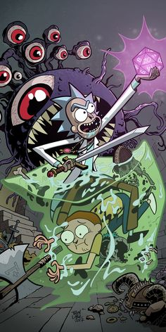 Rick and Morty meet Dungeons and Dragons in comics. Stories by Patrick Rothfuss and Jim Zub. Art by Troy Little. Rick And Morty Image, Rick I Morty, Dungeons And Dragons, Rick Und Morty Tattoo, Morbider Humor, Cartoon Mignon, Rick And Morty Drawing, Ricky And Morty, Les Aliens