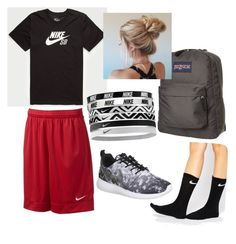 """""""School"""" by siermiller on Polyvore featuring NIKE and JanSport"""
