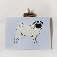 Pug Dog Illustrated Print gotta make a stencil for Pina to etch