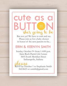 printable cute as a button baby shower by