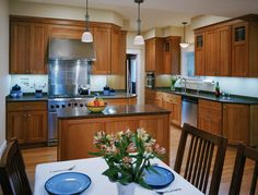 stainless steel just over stove Painted Island, Cherry Cabinets, Leaded Glass, Stove, Kitchen Cabinets, Stainless Steel, Architecture, Modern, House